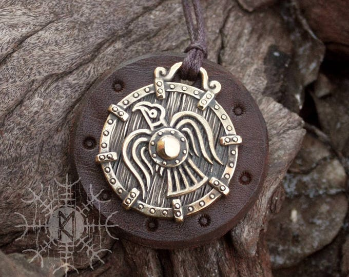 NEW ITEM! ~ Bronze Raven Vikings Banner Odin Huginn Muninn Norse Scandinavian Pendant Talisman Necklace
