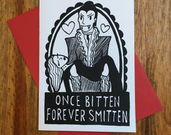 Once Bitten Forever Smitten Valentine Card
