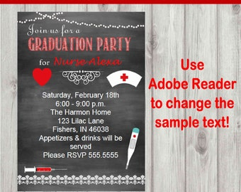 Editable Digital Chalkboard Style Nurse Graduation Party Invitation INSTANT DOWNLOAD