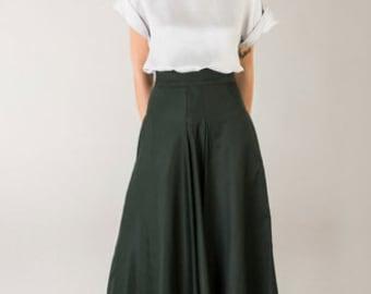 Ready to Ship - High waist Skirt / Pleated midi skirt / A-line skirt / Green color /