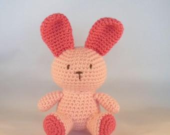 Pink Amigurumi Rabbit, Pink Bunny, Crochet Rabbit, Plush Rabbit, Crochet Animal, Baby Safe Toy, Pastel Pink, Baby Girl, Australian Made Toy