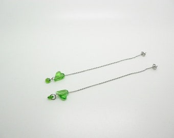stainless steel chain heart and Swarovski green earrings