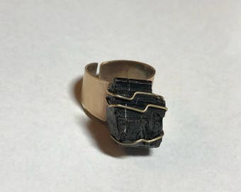 Unisex blk tourmaline and Copper Wire Wrap Ring