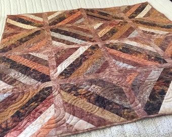 Gorgeous browns. Throw Quilt FREE SHIPPING