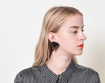 1980s Studded Triangle Earrings 80s Vintage Oversize Statement Earrings