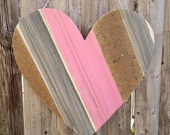 Grey/Pink Sand Heart