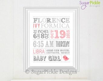 Baby Girl Birth Announcement // Pink Nursery Decor // Baby Subway Art // Custom Birth Stats // Nursery Birth Stats // Nursery Baby Wall Art