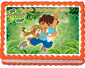 GO DIEGO GO edible cake topper party Image
