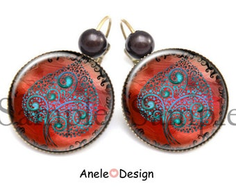 Magic leaf earrings, black blue red, Black Pearl cabochon