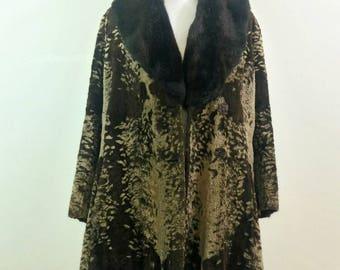 Vintage faux fur plush jacket 60s 70s M/L