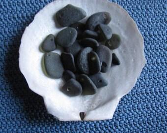 DRILLED  BLACK SEAGLASS, Very rare genuine seaglass, Large and medium black sea glass  beach glass
