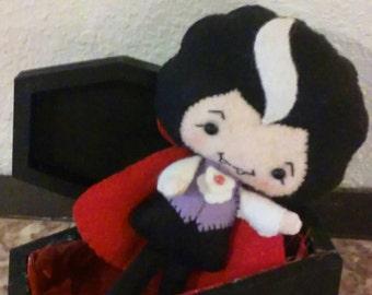 Hand Sewn Felt Plush Dracula and his wood coffin