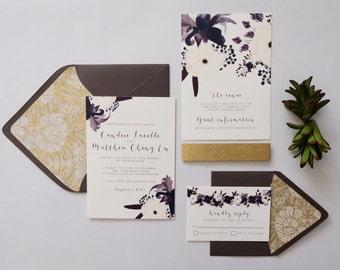 Romantic Plum Floral Wedding Invitation Suite—Printed Sample