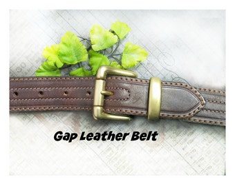 Brown Leather belt - unisex belt - men's belt , Gap belt , dress belt , Brass buckle belt , # B 18