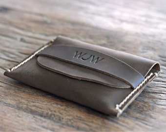 PERSONALIZED WALLET - Leather Front Pocket Card Wallet -- Gift Ideas for Him Her - 014