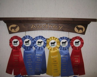 Walnut Dog, Horse or Other Winner Show Award Display and Wall Shelf for Rosette Ribbons, Participation Ribbons, Medals and Trophies