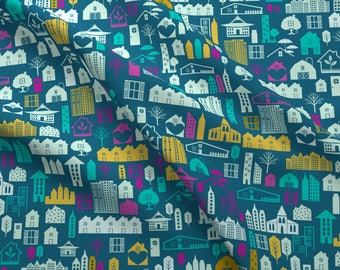 Mod Scandi Town Fabric - Bright Town And Country By Diane555 - Mod City Nursery Decor Cotton Fabric By The Yard With Spoonflower
