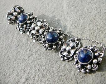 Lapis Bracelet,Peruzzi Silver Jewelry,Peruzzi Lapis Bracelet,Panel Bracelet,Italian Silver Bracelet,800 Silver Bracelet,Renaissance Revival