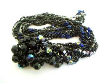 Chunky Twisted Necklace - iridescent black and grey and blue beaded spiral rope necklace - 24 inch chunky black statement toggle necklace