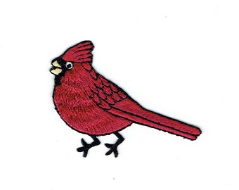 Cardinal - Red Bird - Male - Facing Left - Iron on Applique - Embroidered Patch - 693311A