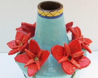 ceramic flower vase; ceramics and pottery flower vase; ceramic art; ceramic flower