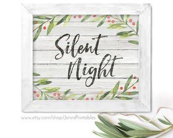 Silent Night Christmas Printable; Silent Night Christmas Printable Wall Art; Silent Night Farmhouse Christmas Decor; Silent Night Printable