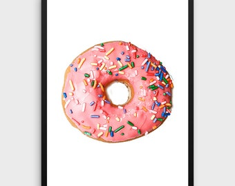 Pink Donut Art, Printable art, Nursery Art, Nursery Printable, Pink Wall Art, Doughnut Decor, Donut Decor, Pink Art, Gift for Her,Watercolor