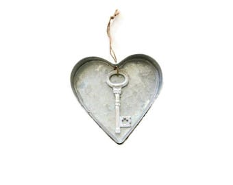Valentine Heart Ornament . key ornament . heart decor . metal heart wall art . heart sign . large heart rustic heart and soul