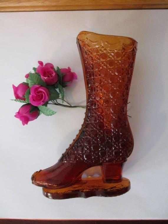 Bouquet Holdertall Boot Button Glass Vintage Glass Boot Vase