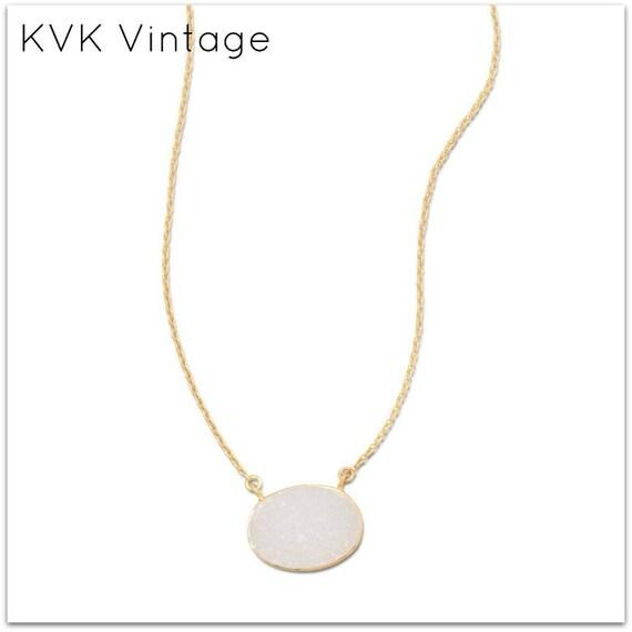 14 Karat Gold Plated White Druzy Necklace