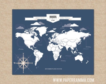 World Map Art, Family Map, Interactive Travel Map, Housewarming Gift // Choose Art Print or Canvas// H-I05-1PS AA4