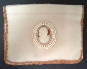 White Cashmere Bead-Adorned Pouch