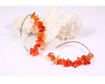 carnelian earrings gemstone jewelry cluster earrings orange earrings statement earrings summer jewelry gift for her girlfriend gift under ї3