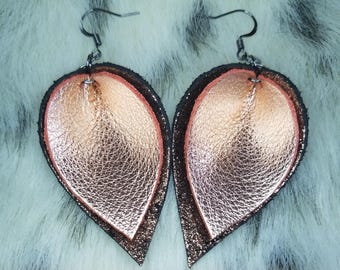 Black and rose gold leather leaf earrings