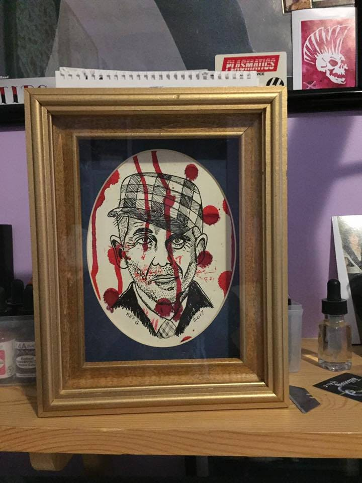 Serial Killer Ed Gein art framed and matted with oval mat Art By Kev ...