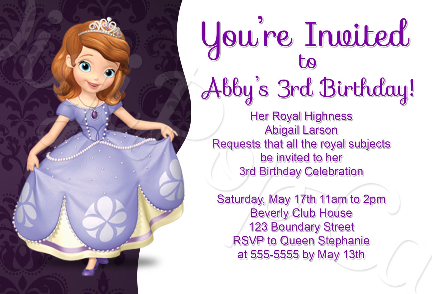 Sofia the First Birthday Party Invitation Traditional Style