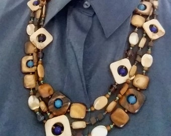 3-Strand MOTHER-OF-PEARL Necklace in Earthtones, Blue, Green, Bronze. Natural Brown Shell Beads. Artistic Statement Jewelry. Mother Gift