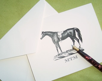 Equestrian Horse Personalized Note Cards Stationery Vintage Inspired Black Ivory Notecards 10 Preppy Monogrammed English Saddle Country Chic