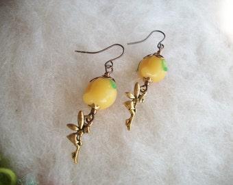 Dainty Lamp Work Glass Peach Beaded Earrings, Peach Fruit Earrings with Golden Fairy Charm, Peach Fairy Earrings