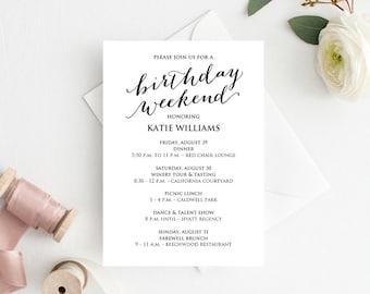 Birthday Weekend Itinerary, Birthday Weekend Invitations, Birthday Weekend Agenda, Birthday Weekend Itinerary Template, Weekend Itinerary