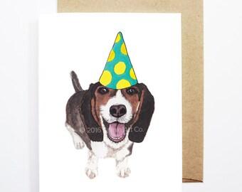 Birthday Card - Beagle, Dog Birthday Card, Cute Birthday Card, Dog Card, Bday Card, Kids Birthday Card, Friend Birthday Card
