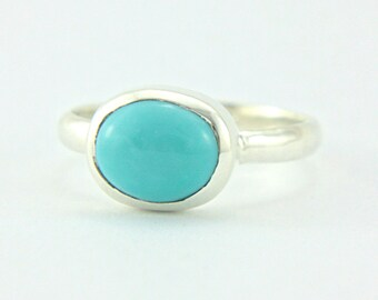Sleeping Beauty Turquoise Ring Sterling Silver Turquoise Ring Made in Your Size Silversmith Simple Turquoise Ring
