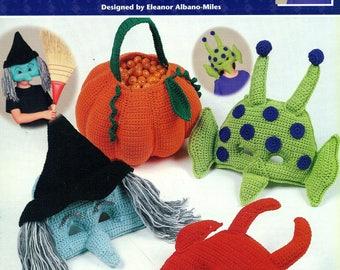 Crochet COSTUME PARTY MASKS Annie's Attic 872319 Halloween Designs Devil Witch Martian Frankenstein Puppy Cat Lion Bear and Treat Bag
