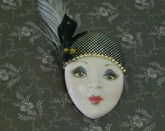 Hand Painted Porcelain Woman's Face Pin   Woman's Face Lapel Pin Brooch