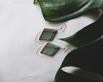 Ceramic Earrings | Green Earrings | Diamond Earrings