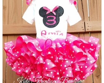 Minnie Mouse Ribbon Tutu/Ribbon Tutu Set/Minnie Mouse Tutu