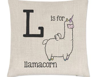 Letter L Is For Llamacorn Linen Cushion Cover