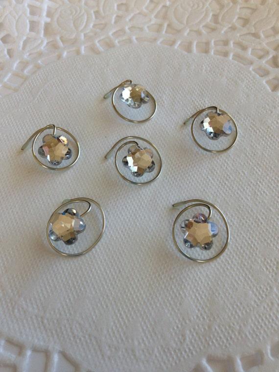 Ballerina Hair Swirls-Spins-Spirals-Coils-Flower Gems-Sparkling Clear-Hair Twisties