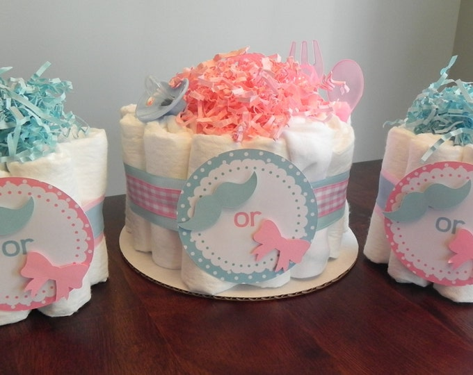 Gender Reveal Diaper Cake Party Pack - Baby Shower Gender Reveal gift or centerpiece mustache bow girl boy bow tie Little Man Little Miss