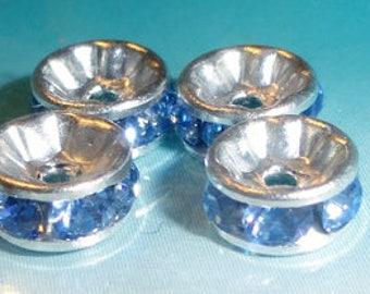6pc - 6mm Swarovski Crystal Light Sapphire Rhinestone Round Rondelle Bead Spacers